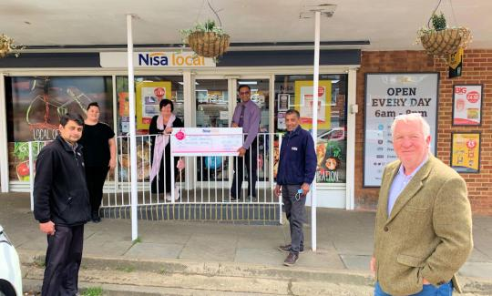 Sir Mike Penning MP with fundraisers outside Nisa Local, Crabtree Lane